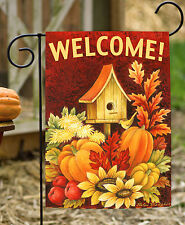 Toland Fall Birdhouse 12.5 x 18 Double Sided Welcome Fall Harvest Garden Flag