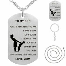 TO MY SON/MOM Engrave Stainless Steel Pendant Necklace Keychain Family Gift