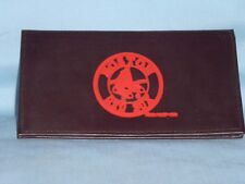 BOSTON RED SOX    Leather Checkbook    NEW    dark brown  red embossed  --si