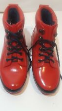 Eddie Bauer Insulated Rubber High Ankle Lace Up Red Boots Women's Sz 7 EUC