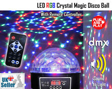 LED RGB Crystal Magic Disco Ball Light - DMX Auto Sound With Remote Party DJ