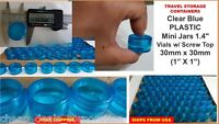 "(9X) Small Vials Clear Round Storage Container Mini Plastic Jar Bottle 1"" Tiny"