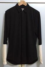 Men's Public School New York PSNY Wool Button Front Shirt in Black / White Sz S