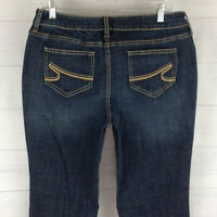 APT.9 embellished womens size 12 stretch blue dark wash mid rise bootcut jeans
