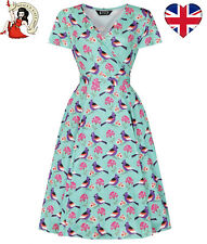 LADY VINTAGE LYRA SPRING BIRD DRESS tea FLORAL vintage style UK 14-24