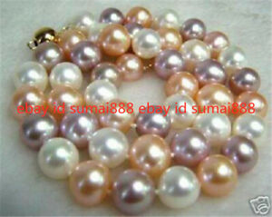 10mm South Sea White Pink Purple Multi-Color SHELL PEARL NECKLACE 18""