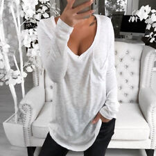 Womens V-Neck Tops Long Sleeve T-Shirt Baggy Loose Jumper Tee Blouse Shirts
