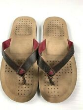 ADIDAS Mens Thong Flip Flop Leather Sandals Size 8.5 Brown