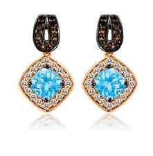 Roberto Ricci LeVian Blue Topaz, White Sapphire and Smokey Quartz Earrings, 14K