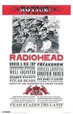 Radiobead Notice Fear Stalks the Land Thom Yorke Rock Music Poster 11x17