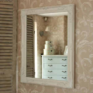 Large ornate white wall mirror shabby french chic bedroom hallway living room