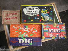 (4) Vintage Games from the 1930's & 1940's - LOTTO, DIG, TIDDLEDY WINKS, LETTERS