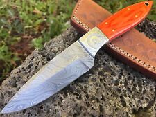 "HUNTEX Custom Handmade Damascus 9"" Long Full Tang Pakka Wood Hunting Skin Knife"