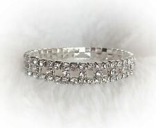 Elegant Crystal Rhinestone Bracelet Stretch Silver Bridal Jewelry Square