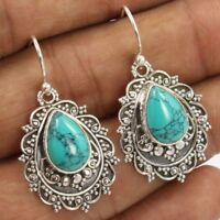 Boho Tibetan 925 Silver Turquoise Ear Dangle Drop Hook Earrings Women Jewelry JT