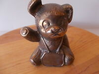 """NOS Vintage 5"""" high Teddy Bear Piggy bank solid metal silver tone personalized"""