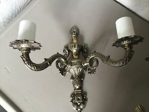 Vintage French Rococo Gold Ornate Double Wall Chandelier Light-3 available #6272