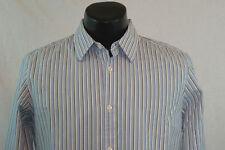 BANANA REPUBLIC Dress Shirt - Light Blue with Green Stripes