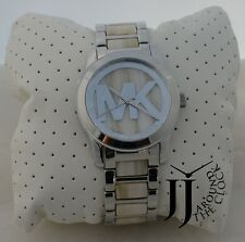 New Michael Kors Runway Alabaster Acetate Stainless Steel Bracelet Watch MK5787