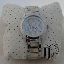 New Michael Kors Runway Alabaster Acetate Stainless Steel Bracelet Watch MK5787