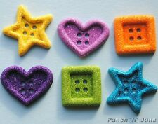 GLITTER BIG OL' SHAPES - Heart Star Square Novelty Dress It Up Craft Buttons