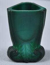 Czech / Bohemian Art Glass Green Malachite Glass Toothpick Holder