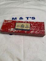 Vintage G.M. Co 9 Pc Socket Set w/ 7 Sockets, Extension & Ratchet in Metal Case