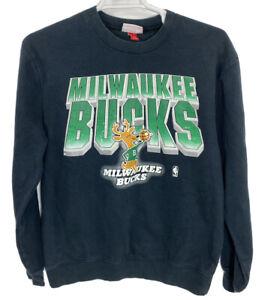 VINTAGE Mitchell & Ness Milwaukee Bucks NBA Retro Crewneck Sweatshirt Mens XL