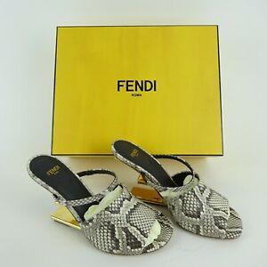 Fendi Roma Gray & White Reptile Open Toe Metal Heel Pumps w/ Box Size 37