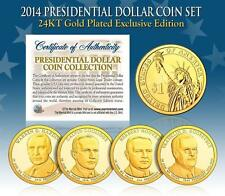 2014 MINT 24K GOLD USA PRESIDENTIAL $1 DOLLAR 4 COIN SET Completed
