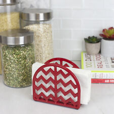 Chevron Cast Iron Kitchen Paper Napkin Holder Tissue Dispenser Red EBY52677