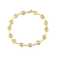 14K Yellow Gold Bracelet With Fancy Cut Citrine Gemstones 8 Inches