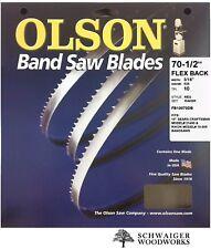 """Olson Band Saw Blade 70-1/2"""" inch x 3/16"""" 10 TPI, Craftsman 21400, Rikon 10-305"""