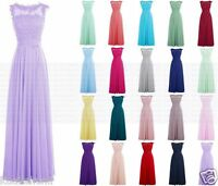Elegant Long Lace Evening Formal Party Ball Gown Prom Bridesmaid Dress Size 6-18