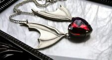 Bat Wing Necklace with Red Heart ,Vampire Bat Necklace,gift for Bat Lover