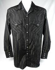 Ely Cattleman Shirt Pearl Snap Western Black Silver Gold Metallic Striped Size M