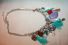 silver and muti beaded, rope, shells, coin choker necklace, aqua purple L@@K VTG
