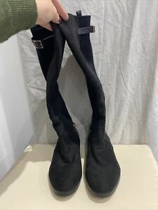 NEW LOOK Black Knee High Boots Size UK 8