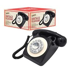 New 1970s Retro Vintage Telephone Classic Desk Phone Handset Rotary Dial