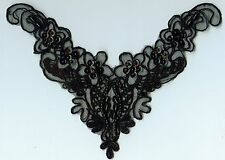 Black Pearl & Sequin Bodice Applique - PS-29 - NEW - FREE SHIPPING