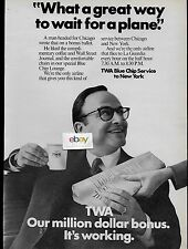 TWA TRANS WORLD AIRLINES BLUE CHIP SERVICE NEW YORK/CHICAGO EVERY HOUR 1969 AD