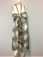 Crossroads Yellow black grey white halter dress size 10 womens party cocktail