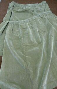 Pair of Vintage Unlined Green Velvet Curtains 170cm drop