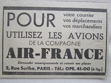 1937-1938 PUB COMPAGNIE AERIENNE AIR FRANCE AIRLINE AVION AVIATION ORIGINAL AD