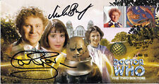 """Doctor Who """"The Two Doctors"""" Stamp Cover Dual Signed - BRYANT & BAKER"""