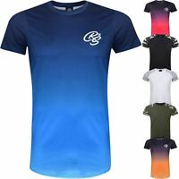 New Mens Crosshatch T-Shirt Summer Contrast Fade Top 2 Tone Tee Short Sleeved