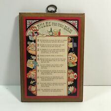 "Vtg ""Rules For The Bar"" Wood Plaque Hallmark Wall Hanging"