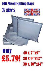 100 Mixed Mailing Bags Strong Grey Plastic Poly Postal Envelopes Self Seal A1 CS