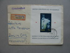 GERMANY DDR, R-cover 1962,  S/S space Wostok III & IV