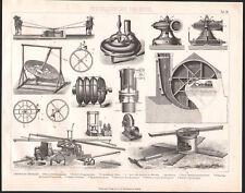 1870 Gravure originale mécanique hydraulique pompe à eau presse machines